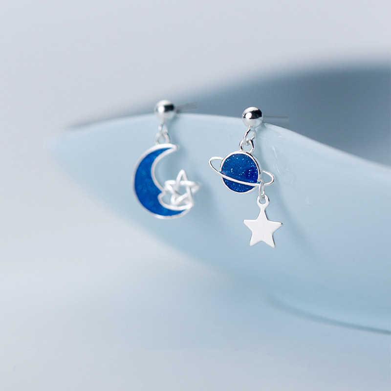 Inzatt Nyata 925 Sterling Silver Biru Enamel Bulan Bintang Planet Romantis Menjuntai Drop Anting-Anting untuk Wanita Pesta Fashion Perhiasan Hadiah