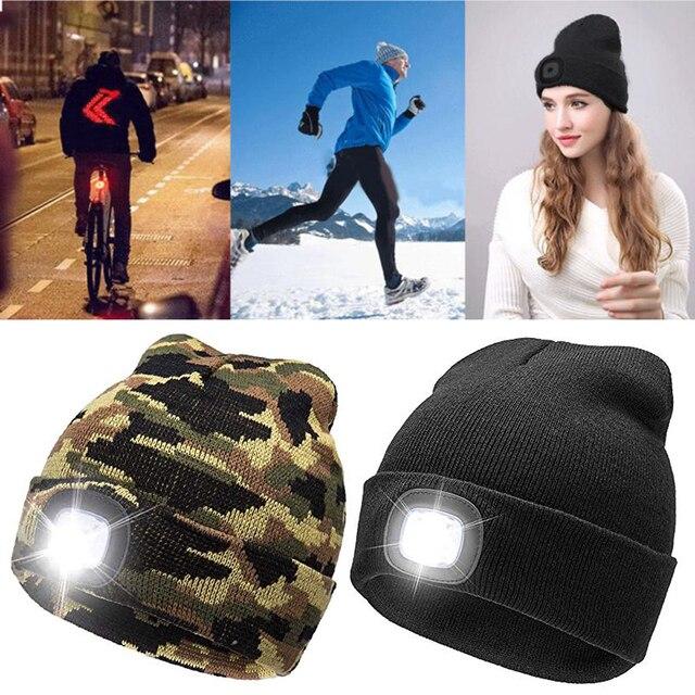 8f248042a9473 Unisex Autumn Winter LED Lighted Cap Warm Beanies Outdoor Fishing Running  Beanie Hat Flash Men Women