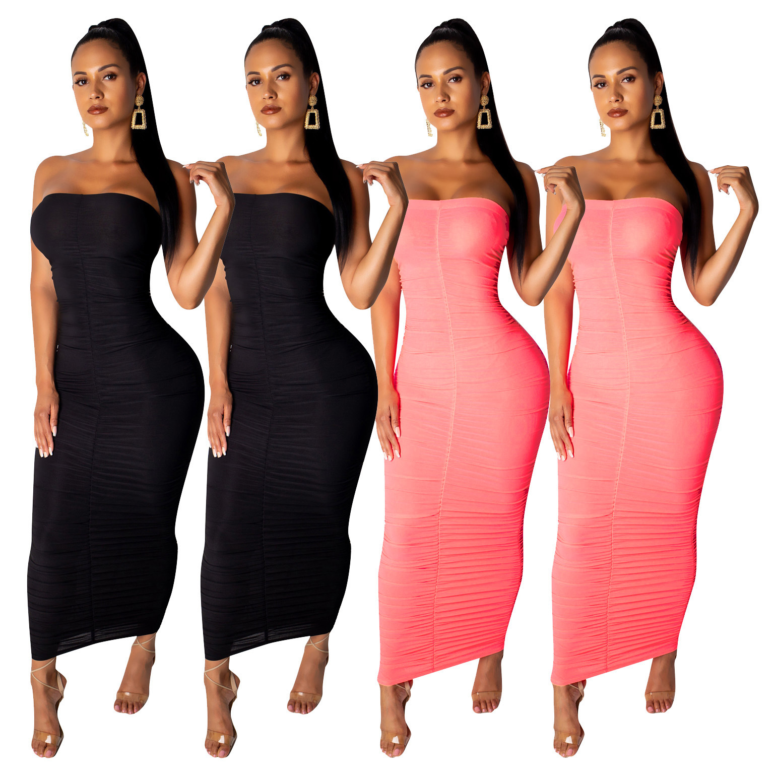 European and American Women's Sexy Solid Color Pleated Wrap Chest Ankle-length Skirt Evening Dress for Ladies