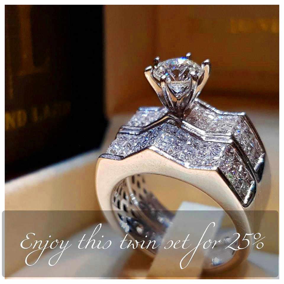 Boho หญิงคริสตัล Zircon แหวนแฟชั่นเงินสี Big แหวนสัญญาหมั้นแหวน