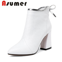 ASUMER 2020 HOT SALE pointed toe lace up ankle boots for women winter shallow boots fashion genuine leather high heels boots