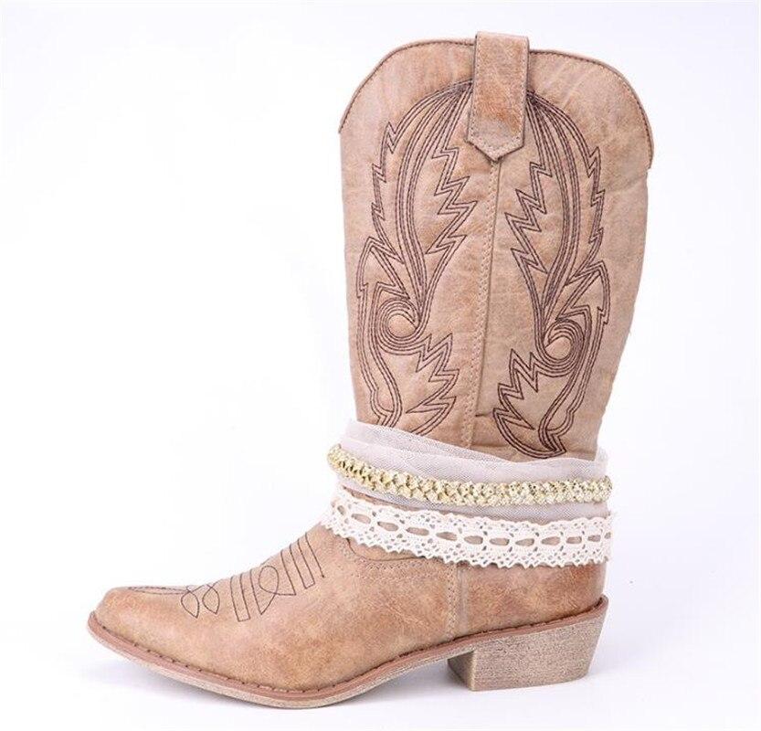 Slip Stivali Delle Donne Stivale Nude Del On Occidentale Ginocchio Cowboy Top Catena Moto Cowgirl Damet Da Della Scarpe E coffee Pizzo Donna Decorazione Con UFwxCqw5Sz
