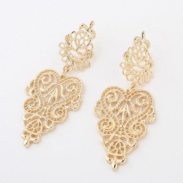 FAMSHIN 2016 New Hot High quality Heat 1 pair Vintage Retro Silver Alloy Women Long golden earrings bohemian