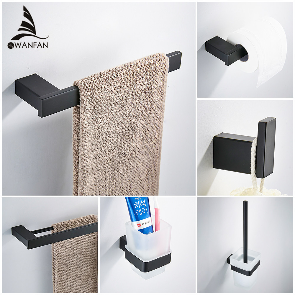 Matte black Stainless Steel 304 Towel Ring Robe Hook Toilet Brush Holder Towel Bar Bathroom Accessories Set Paper Holder 610000R