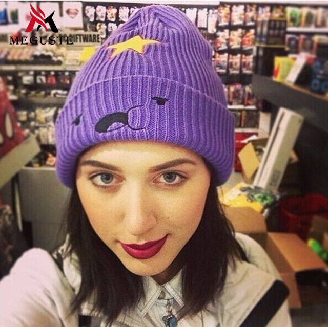 Meguste púrpura Sombrero Que Hace Punto Sombreros de Invierno para Las Mujeres Genuino Sombrero de Dibujos Animados Sombrero Caliente Mujeres de Alta Elástica Tapas Gorros sombrero