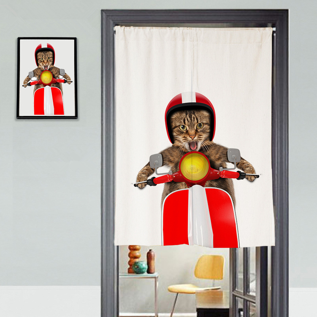Customsize Canvas Door Curtains Panel Cycling Cat Cartoon Pattern Thicken Kitchen Bedroom For