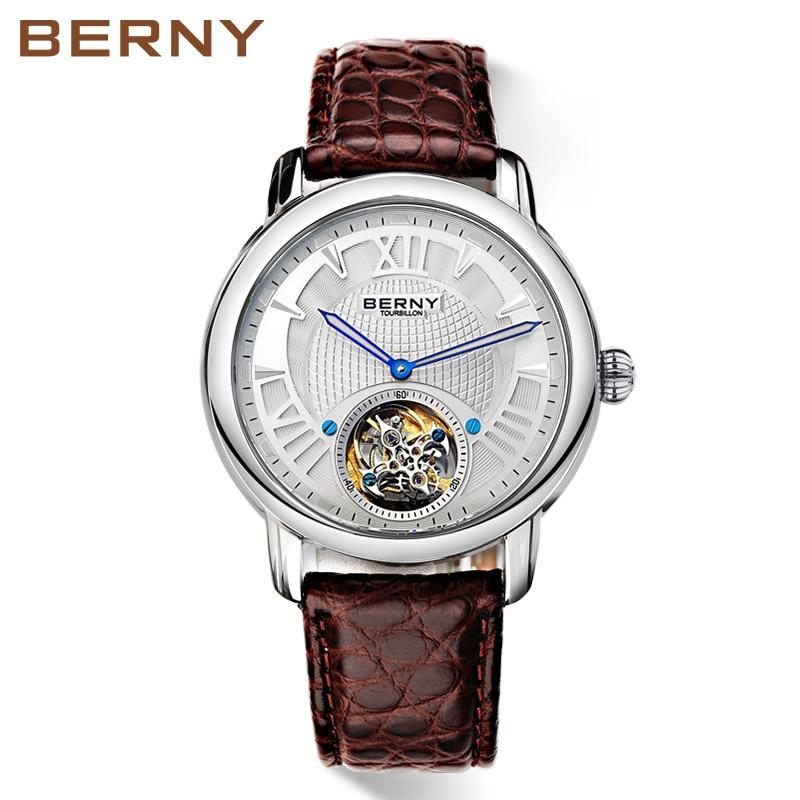 BERNY Top Brand Tourbillon Watch Men Sapphire Automatic Crocodile - Ora për meshkuj