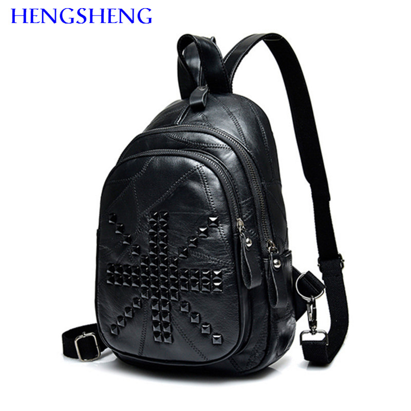 Hengsheng Best classic genuine leather women backpack with quality sheepskin women backpack for rivet ladies backpack women bagHengsheng Best classic genuine leather women backpack with quality sheepskin women backpack for rivet ladies backpack women bag