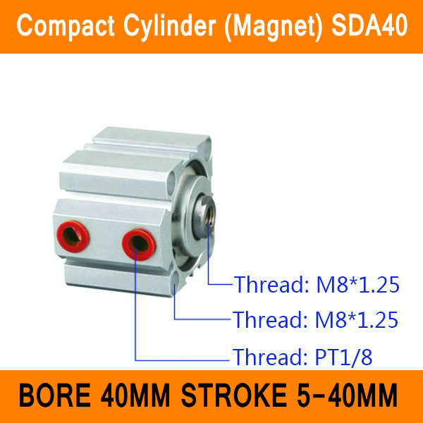 SDA40 Cylinder Magnet Compact SDA Series Bore 40mm Stroke 5-40mm Compact Air Cylinders Dual Action Air Pneumatic Cylinder ISO pneumatic 32mm bore 40mm stroke air cylinder sda 32x40