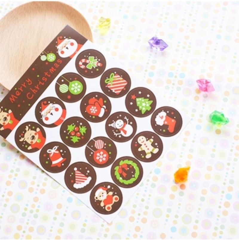 160Pcs/Lot New Brown Merry Christmas Cartoon Deer Tree Sock Seal Sealing Label Sticker Baking DIY Work Round Gift Stickers
