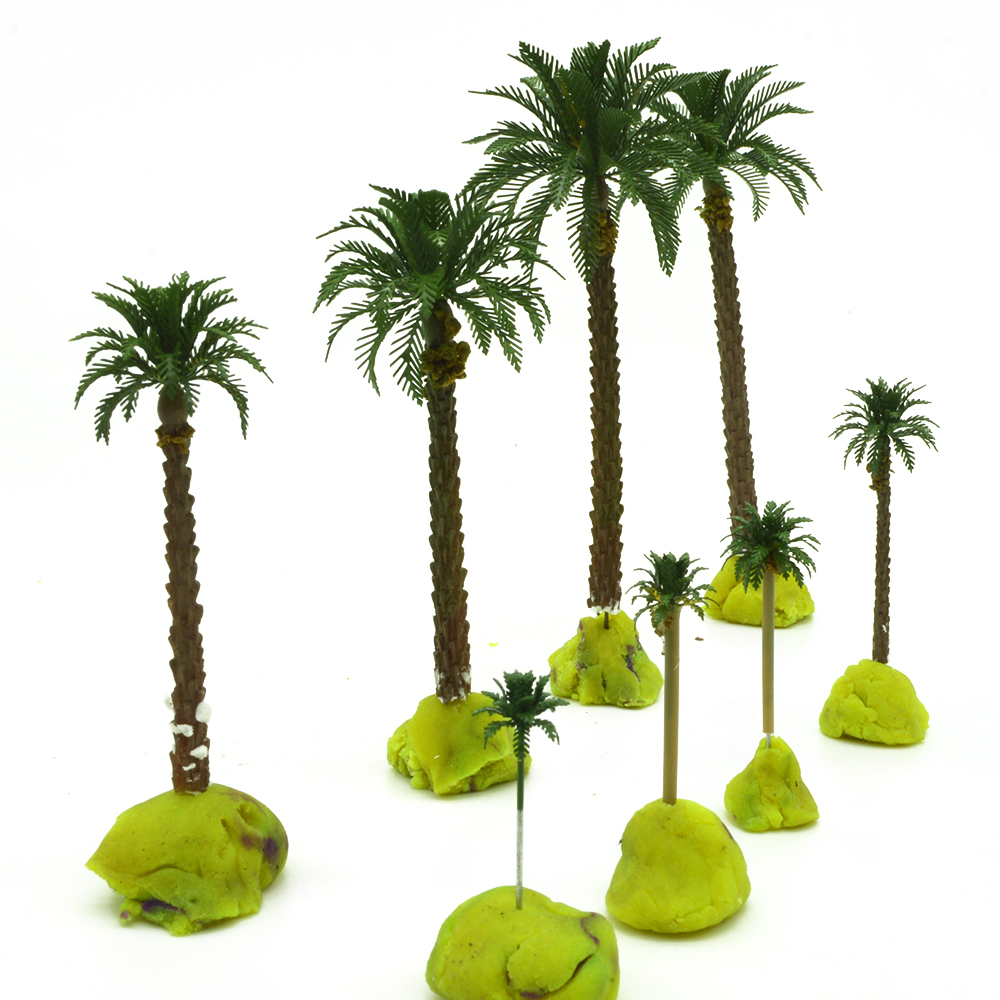 1/500 3cm  Scale Palm Trees With Copper Leaves Cocos Nucifera  Model Palm Trees For Scenery Train Layout Constructions