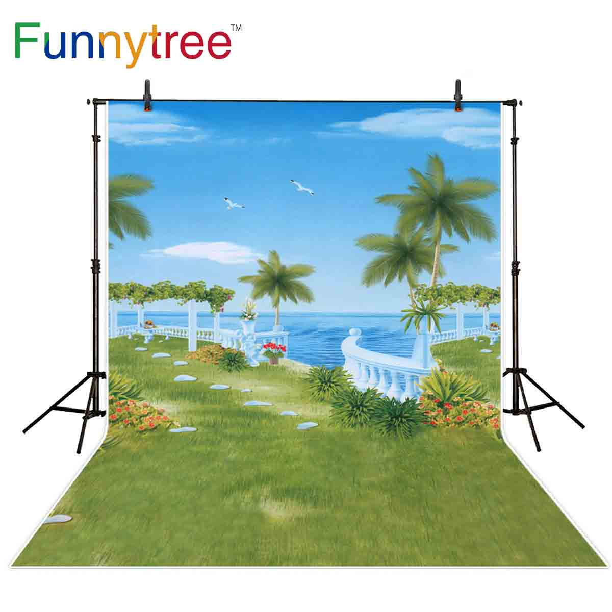 Funnytree summer photo backdrop sea bird trees Waterfront mansion lawn holiday natural scenery background photogtaphy photophone image