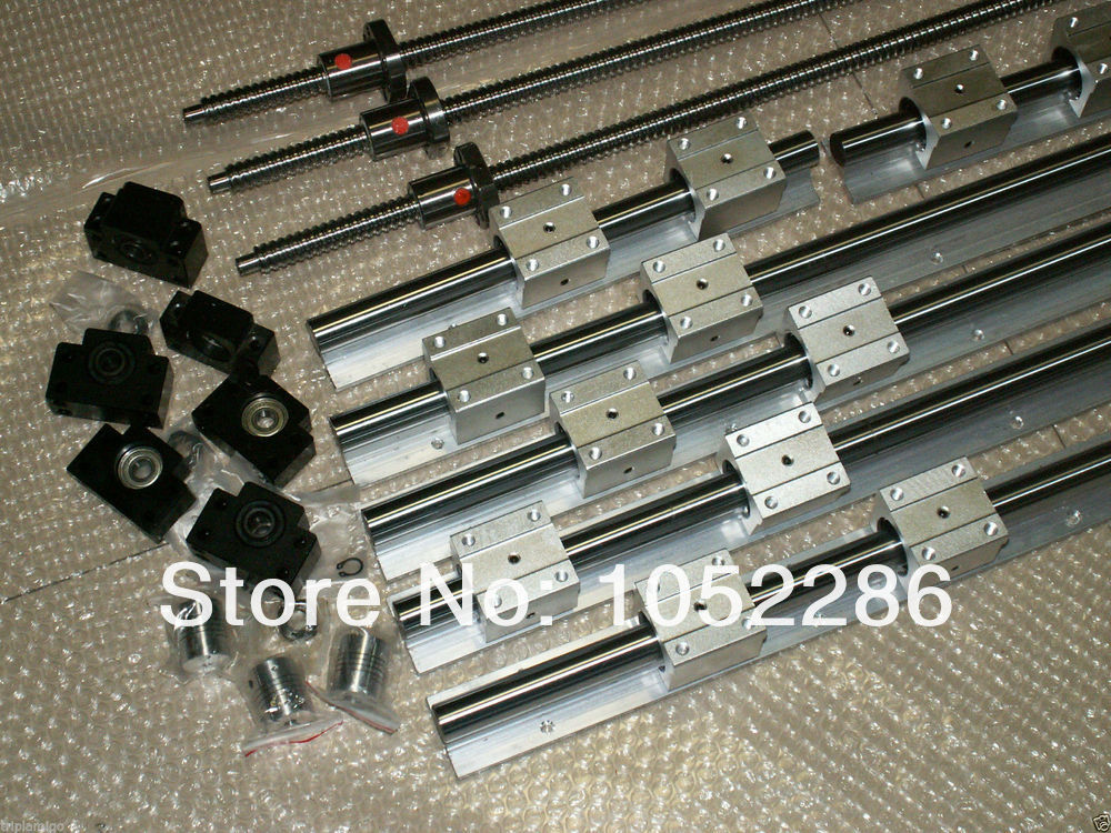 6sets SBR16 linear guide rail SBR16 - 300/700/1100mm + SFU1605 - 350/750/1150mm+BK/BF12+Nut housing CNC router 6 sets linear guide rail sbr16 300 700 1100mm sfu1605 350 750 1150mm ballscrew set bk bk12 nut housing coupler cnc par