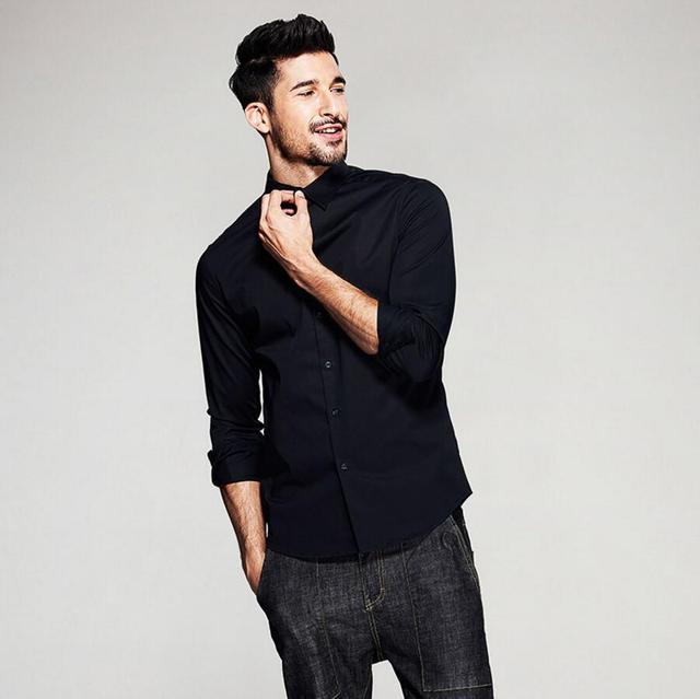 Мужские Рубашки Мода Длинным Рукавом Хлопок Бизнес черные Рубашки Мужчины Формальная Работа Clothing Социальной Костюмы рубашки