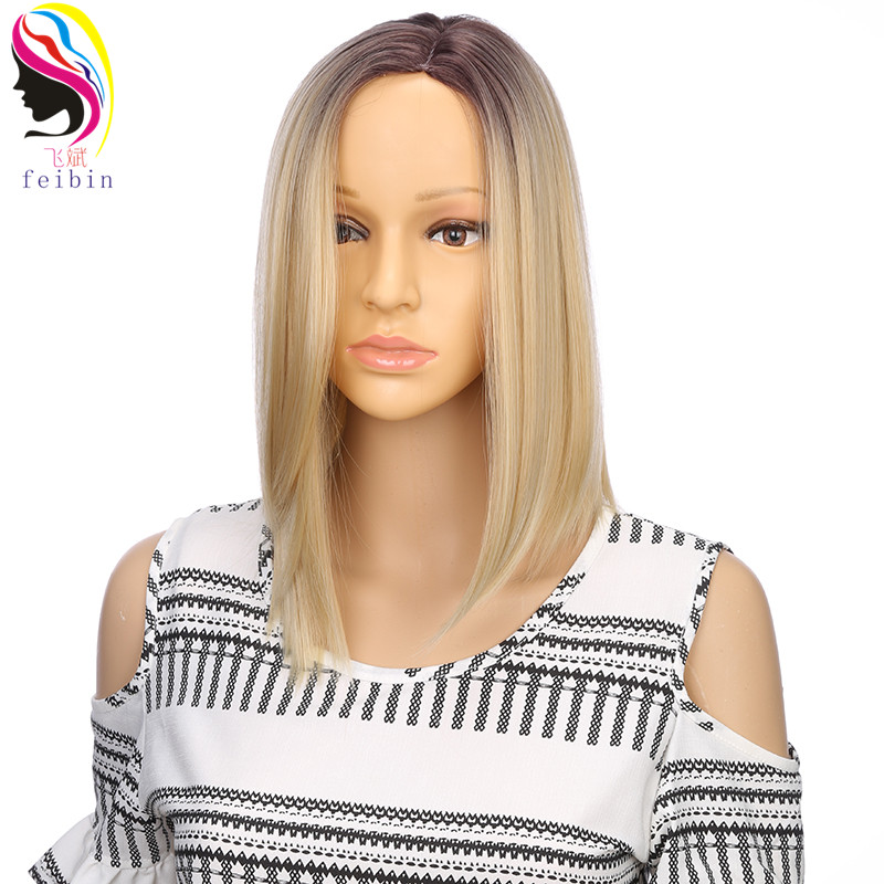 Feibin Short Wigs For Black Women Synthetic BOBO Straight Ombre Blonde Wig High temperature Fiber D10