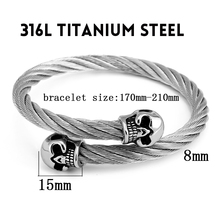 Titanium Steel Silver/Gold Tone Bracelet for men Twin Skull Charms