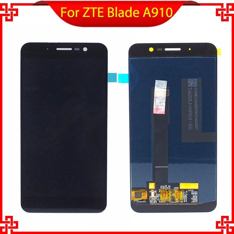 Para zte blade a910 ba910 display lcd com tela de toque digitador assembléia original nova frete grátis com ferramentas