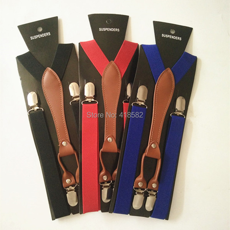 BD027-L--Free Shipping Fashion Adult Suspender Leather 4 Clips Men's Suspenders Women Braces