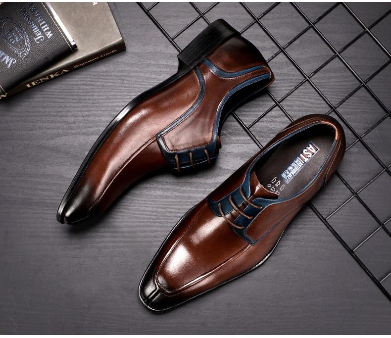 Men's Casual Shoe Business Mens Genuine Leather Shoes Men Big Size 45 Casual Leather Oxford Shoes For Men Lace Up Brogues Formal (2)