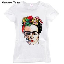 Women Legendary artist Print T shirt Funny Personalized Art Short Sleeve Round Neck Sugar Skull Top Tees(China)