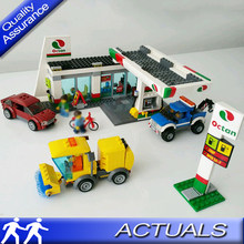 02047 Service Station Gas Station Building Blocks Compatible with Lego 60132 City Town Car Figures Model Bricks Educational Toys(China)