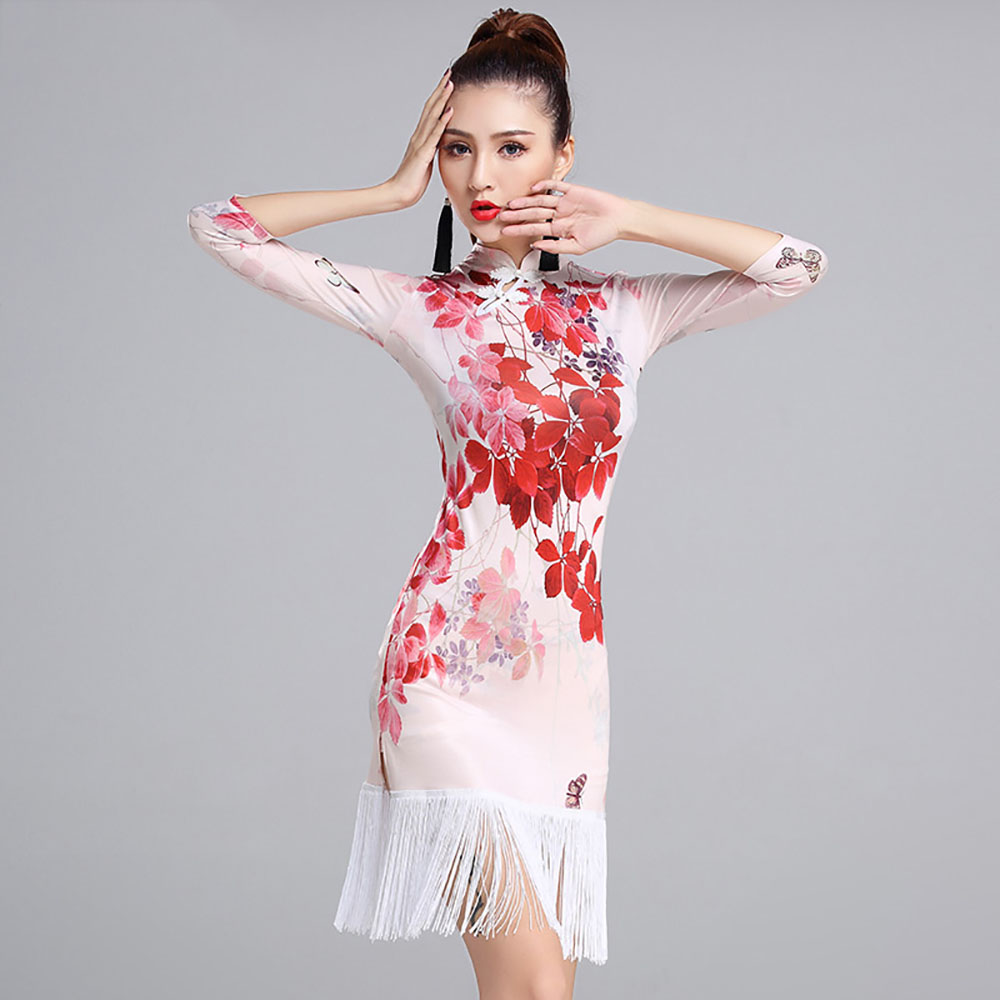 fb03a97422c1 Current Latin Dance Dress For Ladies Red White Flower Print Tassel Ice Silk  Vintage Skirt Indian