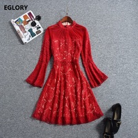 2018 Spring Summer Party Elegant Women Dress Stand Collar Hollow Out Lace Embroidery Flare Sleeve A