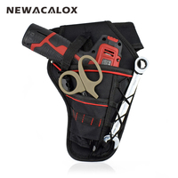 NEWACALOX Electrician Oxford Pockets Storage Bag Waterproof Hardware Waist Tool Bag For Electric Cordless Drill Holder