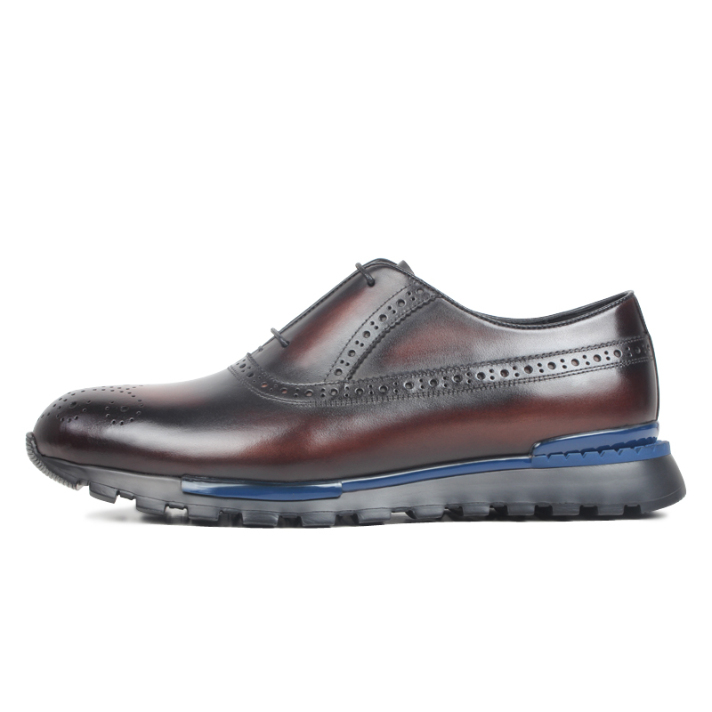 VIKEDUO Brogues เต็มรูปแบบผู้ชายรองเท้าผ้าใบ Patina ชายรองเท้าหนังแท้รองเท้าหนังกีฬาหนังรองเท้า Handmade Zapatos de Hombre-ใน รองเท้าลำลองของผู้ชาย จาก รองเท้า บน   2