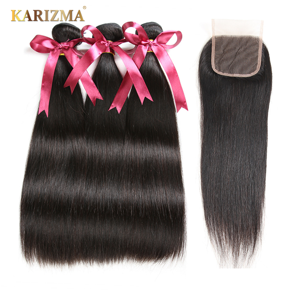 Karizma Peruvian Hair Bundles With Closure Straight Hair 3 Bundles With Closure Free Part 100 Human