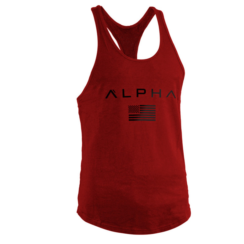 Bodybuilding   Tank     Tops   Men Stringers   Tanks   Backless Muscle Crossfit Singlet Quick Dry Sweat Tanktop Undershirt Fitness Black Red