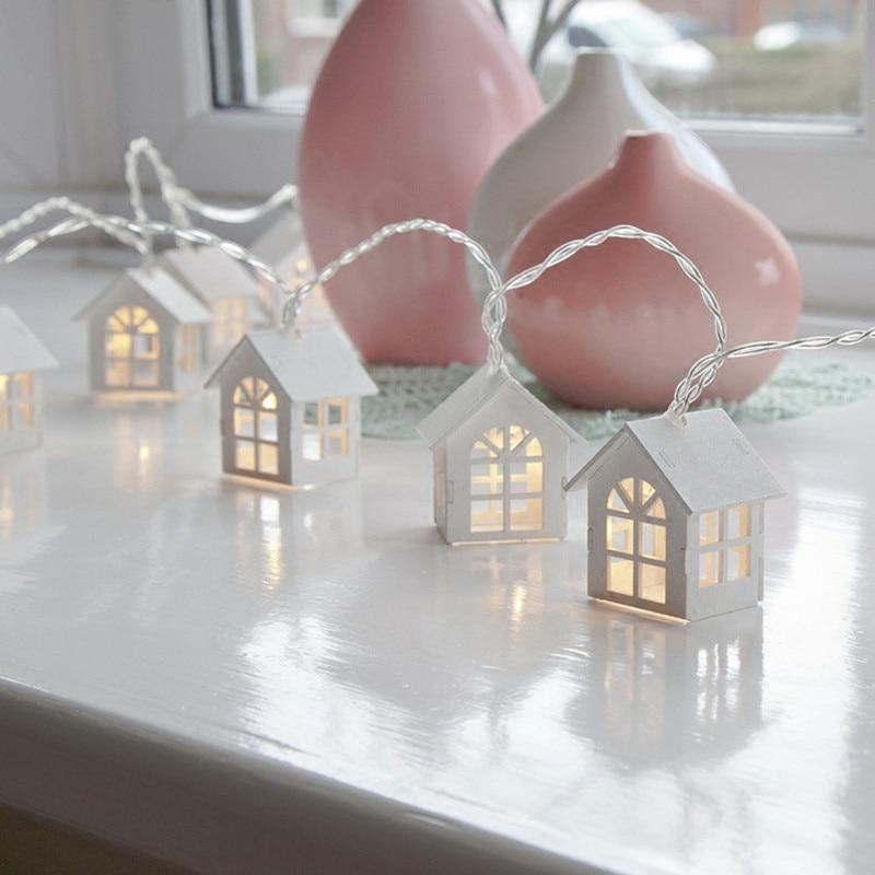 1,65 m 10LED Cadena de luces Led en forma de casa para decoración de interiores, luces decorativas para habitación de niña guirnalda de Navidad para fiestas de boda