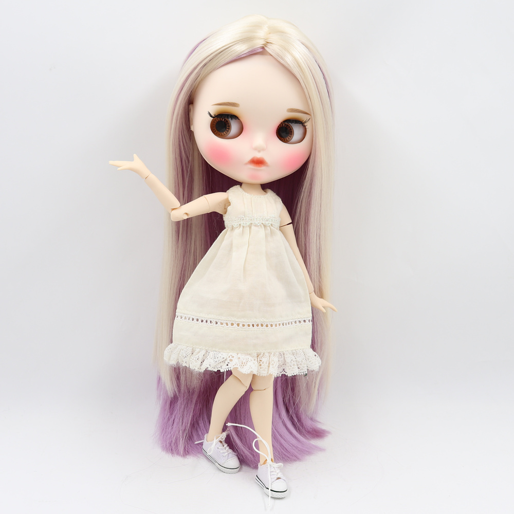 Fortune Days Blyth ICY Doll 30cm joint body mixed color straight hair matte face with eyebrows