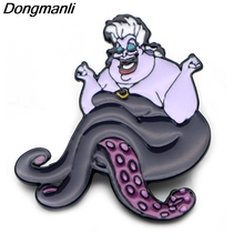 P3865 Dongmanli Fashion Funny Octopus Cute Ursula Metal Enamel Brooches and Pins Collection Lapel Pin Badge Collar Jewelry