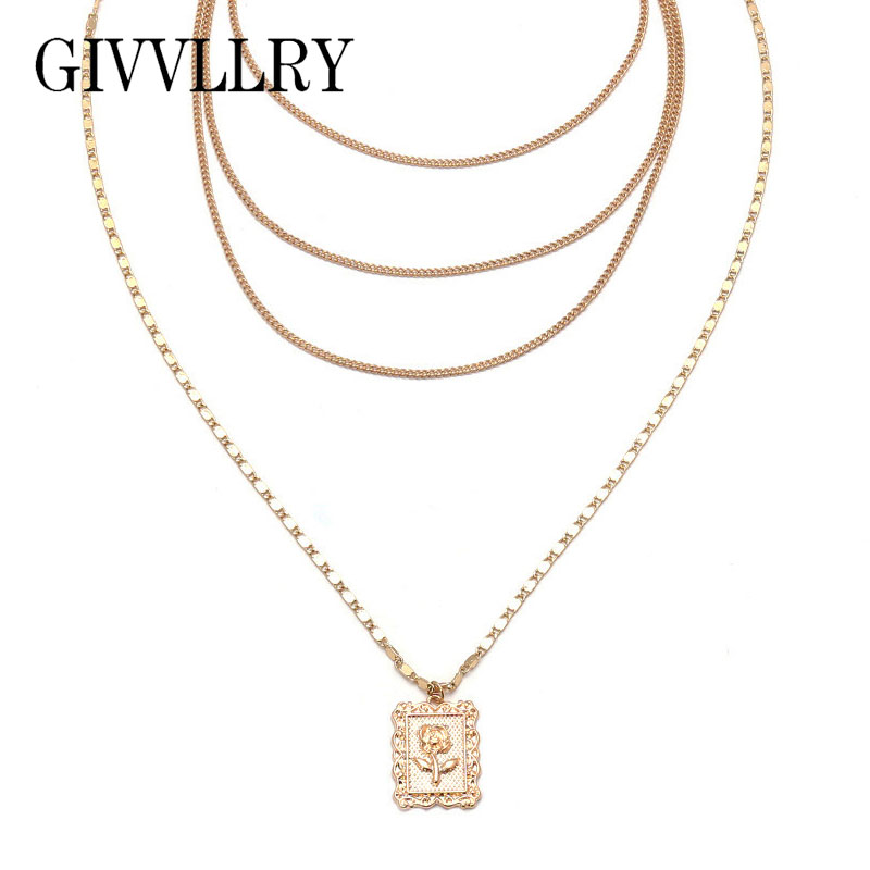 GIVVLLRY Square Rose Flower Pendant Necklace for Women Minimalist Gold Silver Color Multilayer Choker Collar Chains Necklaces ...