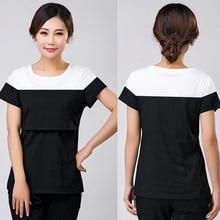 OkayMom Summer Causual Maternity Nursing Tops Cotton Breast Feeding T shirt Pregnancy Nurse Wear Tees Clothes
