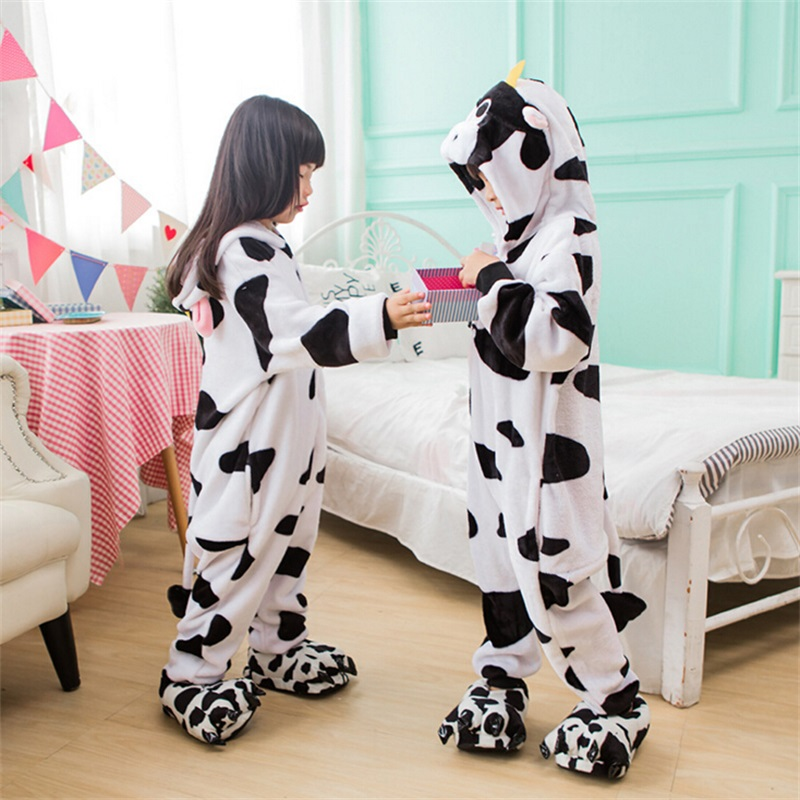 Cow Costume Fancy Fanny Soft Carnival Animal Cosplay for Girl Child Kigurumi Onesie Suit Jumpsuit Set Girl Boy with Shoe