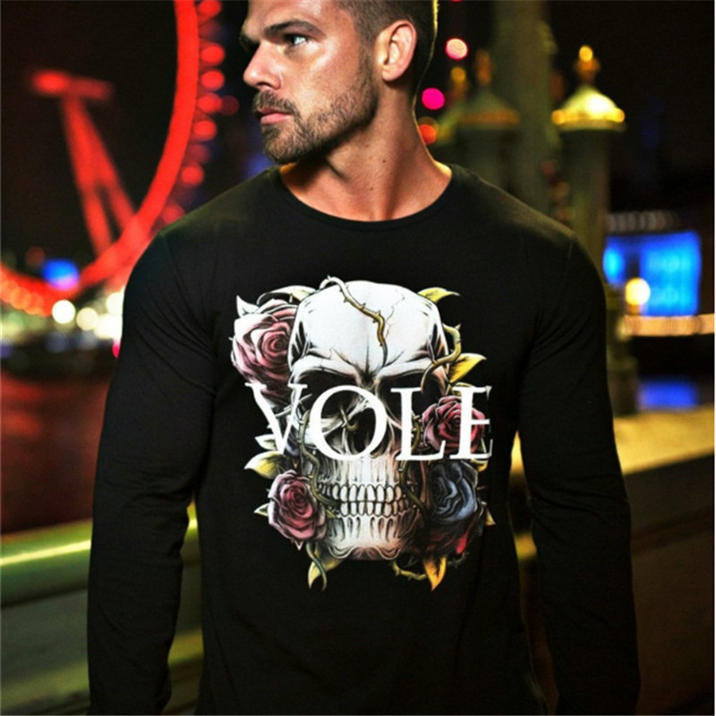 2018 men's new fitness casual fashion summer print short sleeve T-shirt