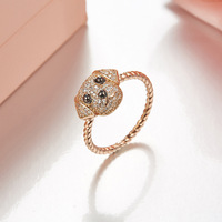 Rose gold AAAA Zircons Puppy Twist Rings For Women S925 sterling silver Adorable Puppy Little Dog Rings bague femme argent 925