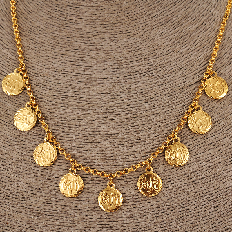 Bangrui NEW Arabic Allah Coin Necklace for Women Gold Color Arab/Africa Islamic Like Jewelry Make Money Gift Lucky ...