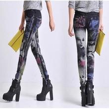 26-31 size Printing Jeans Female Casual Slim Pencil Pants Girl Elastic Jeans Vintage Skinny Painted Long Jeans Women pants