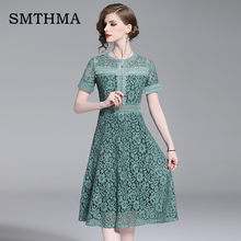 SMTHMA 2019 Summer New Women's Lace Dresses Green Lace Hollow Out Patchwork Casual Slim Office Party Dress vestidos(China)