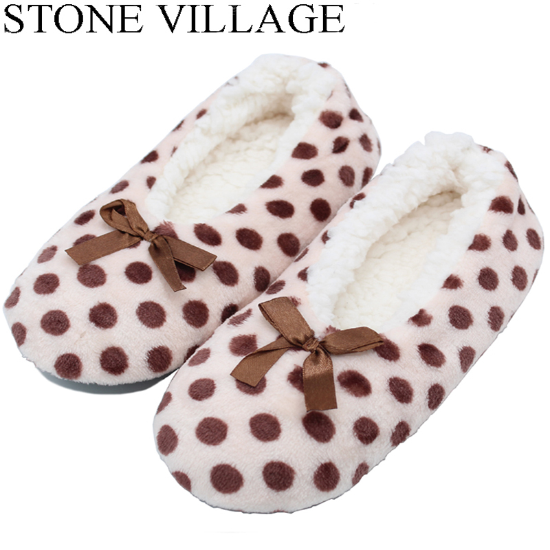 Christmas Gift Socks Indoor Floor Slippers Shoes Polka Dot Lovely Women Slippers Butterfly-Knot Plush Warm Winter Home Slippers knot front polka dot top with pants
