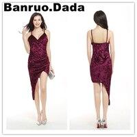 קטיפה אדומה משלוח חינם dress 2017 נשים סקסיות ספגטי רצועת מפלגת צלב מיני אסימטרית חפיפה dress