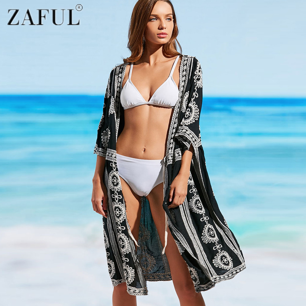 buy zaful 2017 newest pareo beach embroidery bikini swimsuit cover up robe de. Black Bedroom Furniture Sets. Home Design Ideas