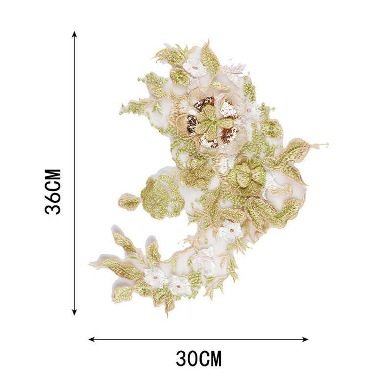Venda quente rendas diy floral bordado diy vestido de casamento alta qualidade popular applique roupas remendo novo 1 pc