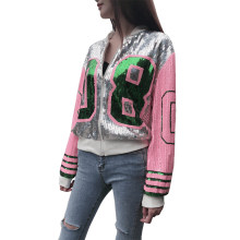 Fashion Women Sequins Coat Bomber Jacket Long Sleeve Zipper Street wear Casual Tunic Glitter Outerwear Female(China)