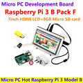 Micro PC Caliente Raspberry Pi 3 Modelo B con 7 pulgadas LCD HDMI + 8 GB tarjeta sd micro + bicolor caso + adaptador de corriente = raspberry pi 3 b paquete f