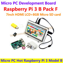 On sale Micro PC Hot Raspberry Pi 3 Model B with 7inch HDMI LCD+8GB Micro SD card+Bicolor case + Power Adapter=Raspberry Pi 3 B Pack F