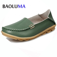 New Summer Candy Colors Genuine Leather Women Casual Shoes Fashion Breathable Slip On Peas Massage Metal